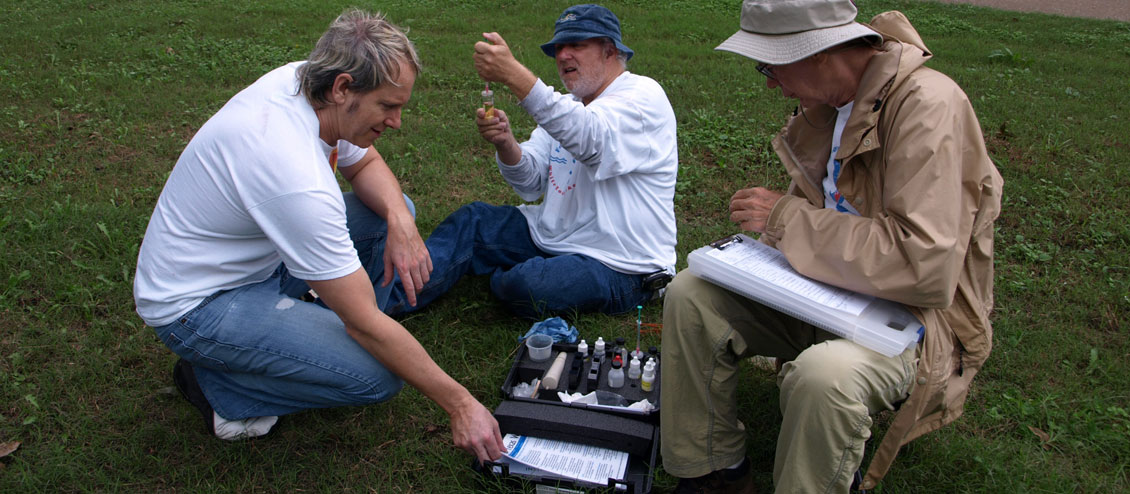Volunteers monitor dissolved oxygen content in White Rock Creek