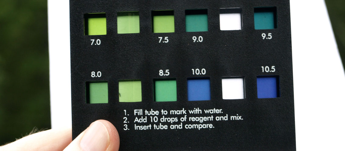 Color of tested water is compared to the water color reaction key.
