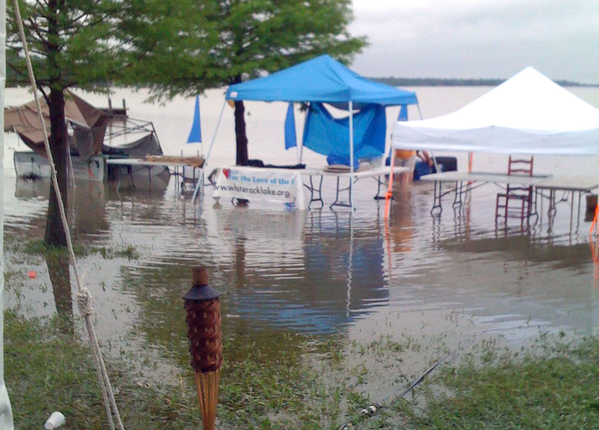 Festival booths were innundated by a freak storm