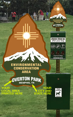 Image of Sgt. Poopers dog waste station and conservation sign